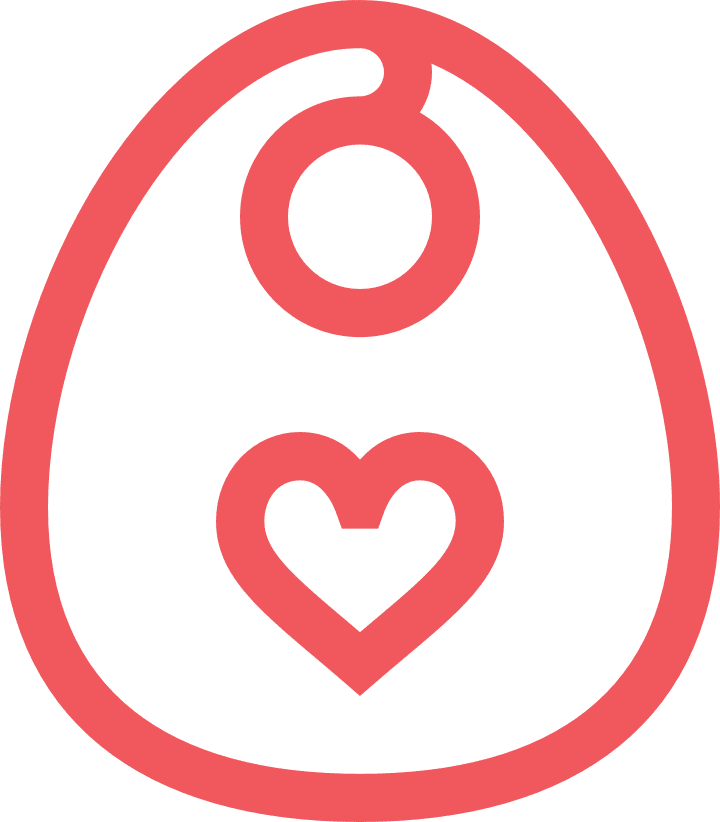 Bib icon with a heart in the middle